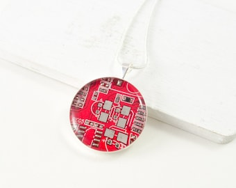 Circuit Board Necklace Red - Upcycled Computer Jewelry - Motherboard Necklace - Geeky Gift for Her Under 30