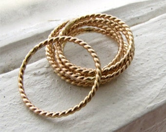 HOLIDAY SALE Twist Gold Filled Ring - A Single Narrow Stackable Band Handmade by Queens Metal