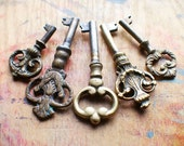 Ornate Antique Brass Key Set - Rare Keys - Instant Collection // New Year Sale - 15% OFF - Coupon Code SAVE15