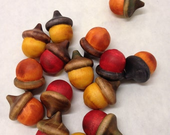 WARM Tones Solid Wood Acorns Color Stained Dozen (8b)