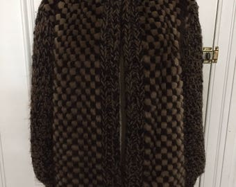 Vintage 1980s checkered fur sweater coat