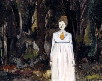 The fire in her heart led her through blackened forests - print of original oil painting