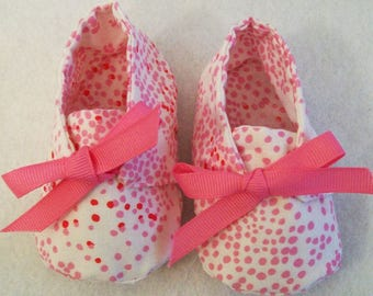 Baby Girls tiny Dot Shoes, Soft Fabric shoes, Handmade, Baby Shower Gift, Made in the USA, #37