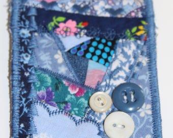 Crazy Quilt Fabric ACEO, fiber art, mini quiltie, crazy quiltie, fabric, mini quilt, blue, embroidered