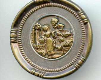 "Victorian Button MADEMOISELLE at the WELL Large Antique Metal Large Picture 1 3/8"" size 3814"