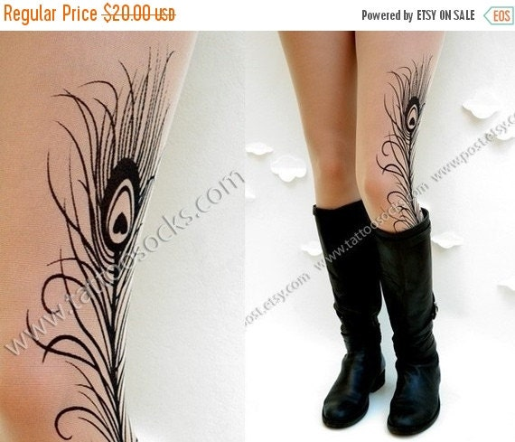 Yay-HolidaysSale:))) XS-S-M sexy Mini  and Boots peacock Feather tattoo thigh-high socks Light Mocha