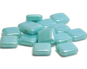 Czech Glass Beads - Square Beads - Flat Square Beads - Czech Beads - 10mm - Pastel Beads - 15pcs (235)