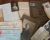 Lovely Ephemera Packet. Antique Papers: Report Card, Photos, Ledger, Receipts, More.