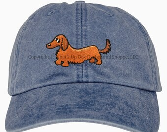 Embroidered Red Longhair Dachshund Ball Cap