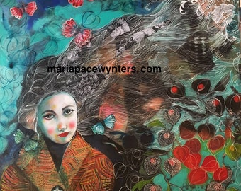 Late Autumn- Original mixed media  painting by Maria Pace-Wynters