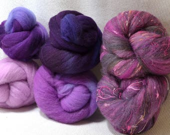 NEW! Violent Violet Targhee Gradient Set With Bricolage Studios Tweedy Batt Bumps - A great combination of fiber to enhance your creativity