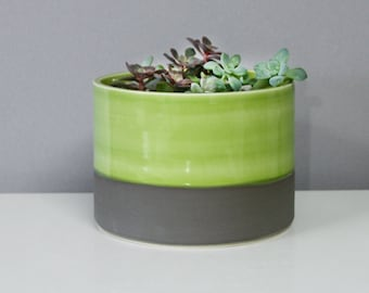 Handmade Porcelain Planter Green Grey - Modern Ceramic Planter Glossy Green and Matte Grey Colorblock - Low Wide Pottery Cylinder