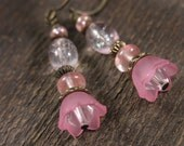 SALE Pink flowers, swarovski crystal, cherry quartz stone, glass and antique brass handmade earrings