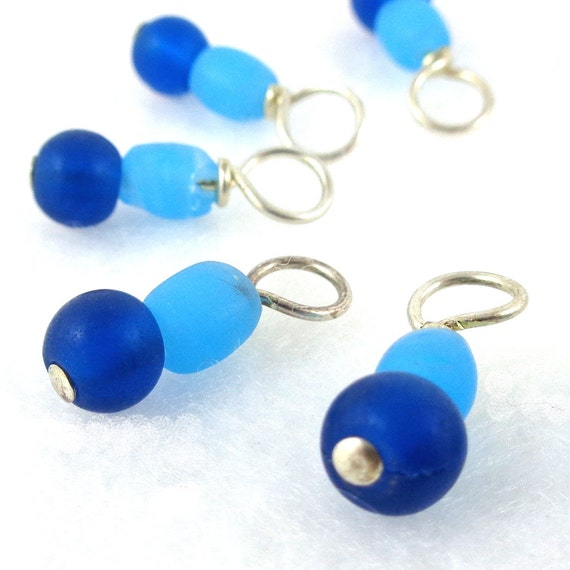 Atlantic Ocean Droplet Stitch Markers Knitting or Crochet (Choose Your Size - Set of 10)