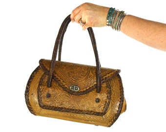 50s Tooled Leather Purse / Vintage 1950s Distressed Leather Handbag / Hippie Boho Bohemian Southwest Ethnic Folk Antique Mexican Bag