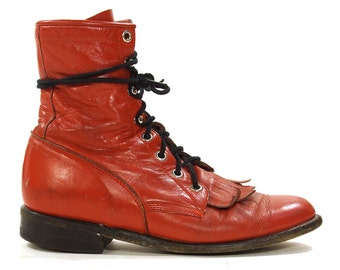 Justin Lace Up Ropers / Vintage Red Leather Ankle Boots / Packer / Western Fringed Kiltie / Granny Booties / USA Made / Women's Size 7