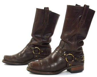 FRYE Motorcycle Boots with Ankle Harness / Distressed Brown Leather Mid Calf Moto Boots / Square Toe / Made in USA / Mens 9 / Women's 10.5