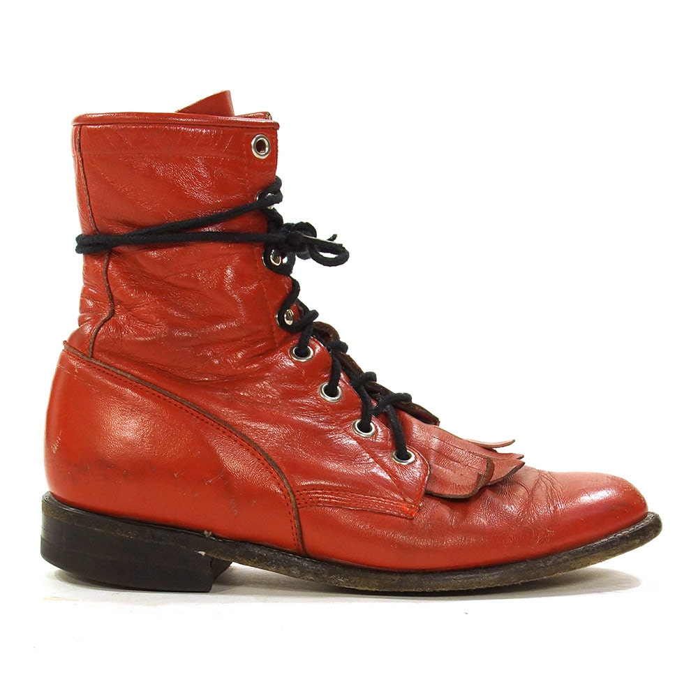 Justin leather work gloves - Justin Lace Up Ropers Vintage Red Leather Ankle Boots Packer Western Fringed Kiltie Granny Booties Usa Made Women S Size 7