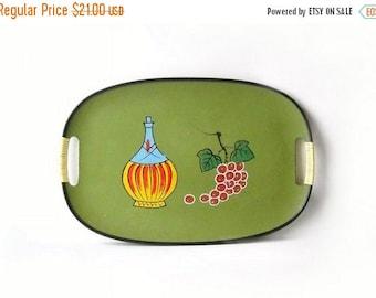 Green Serving Tray, Vintage Wine & Grape Motif Barware, Retro Kitchen Decor