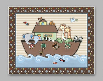 Noah's Ark Nursery Art print.  Jungle Animals Two by Two. M2M Bedding