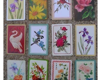 Assortment of Vintage Playing Cards for ATC Creations -Birds and Blossoms