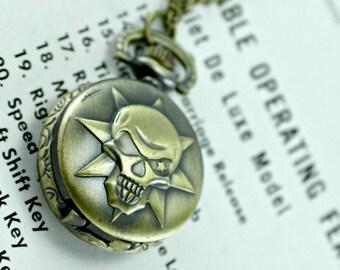 Steampunk Brass Skull Pirate Skeleton Pocket Watch with 28 Inch Brass Chain