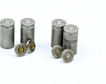Annie Get Your Gun Silver 40 Caliber Spent Shotgun Shell Bullet Post  Earrings