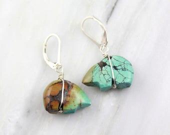 Turquoise Zuni Bear Dangle Earrings