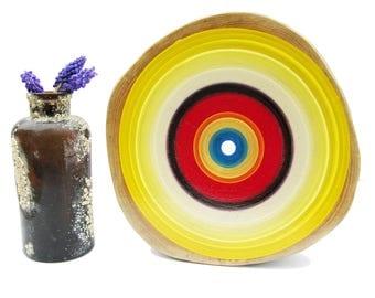 Yellow Art, Tree Ring Art, Mid Century Modern Art, Asheville Art, Circle Art, Top Selling Items, Cabin Decor, Fifth Anniversary Gift