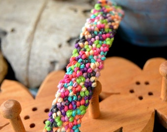 Colorful Macrame Hemp Bracelet,  Hand Knotted Bracelet, Hemp Jewelry, Hemp Bracelet