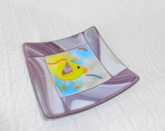 Purple Spring Chicken Dish, Fused Glass Easter  Plate, Fused Glass Dish, Purple Glass Candy Dish, Pillar Candle Holder, Trinket Tray
