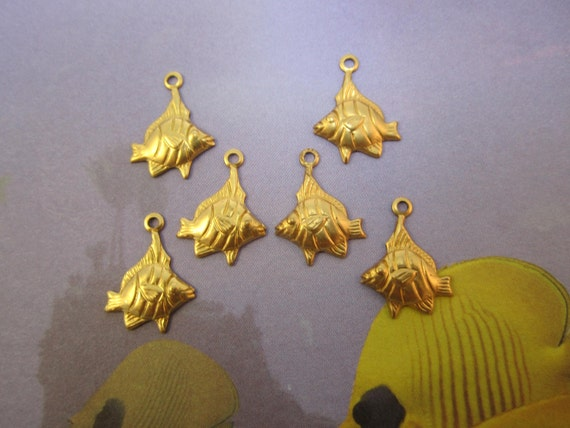 Angel Fish, Tropical Fish, Left and Right Facing Brass Jewelry Charms on Etsy x 3 Pair