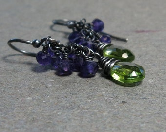 Peridot, Amethyst Earrings August February Birthstone Earrings Cluster Earrings Oxidized Sterling Silver Gift for Wife