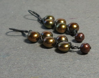 Copper Pearl Earrings Leverback Bronze Chocolate Pearls Oxidized Sterling Silver Long Earrings Gift for Her Zig Zag