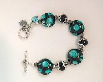 Swarovski Crystal and Lampwork Beaded Bracelet  handmade srajd spring mothers day  gift