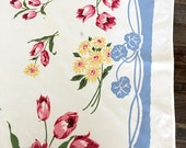 table cloth Pink Tulips Blue border/yellow floral accents vintage/retro shabby/cottage chic