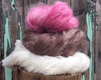hand dyed mohair Neapolitan brown pink natural dolls hair knitting crochet