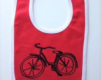 Childrens bib. Hand drawn bike bicycle. Silk screened baby bib.