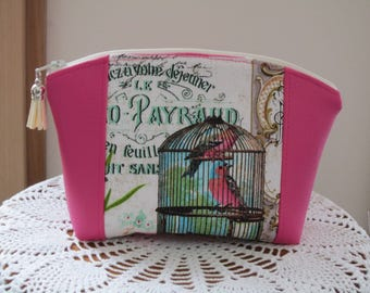 Bird in a Vintage Cage Roses Medium Clutch Cosmetic Bag  Purse Bridesmaid Gift Essential Oils Case Toiletry Kit Travel Case Camera Bag