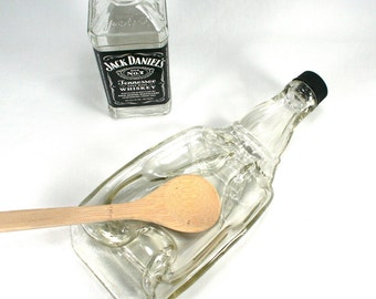 XL Jack Daniels Tennessee Whiskey Molded Bottle Serving Tray with Cap - Spoon Rest - Recycled Eco-Friendly