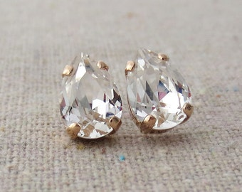 Swarovski Crystal Faux Diamond Tiny Teardrop Rhinestone Pear Rose Gold Post Earrings Bridal Jewelry Bridesmaids Presents Gifts Flowergirl