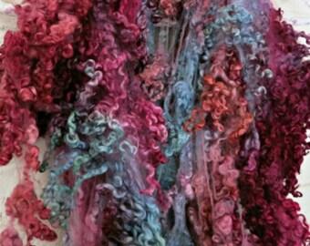 Border Leicester Wool Curls - Hand Dyed Fleece - Reds, Browns, Pinks, Greens -  Locks - Rose Hip Tea