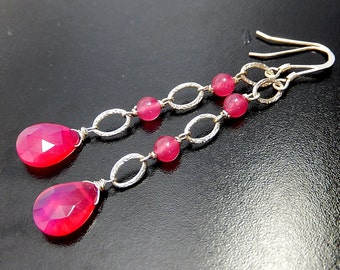 Neon Pink Earrings, Magenta Drop Earrings, Long Teardrop Dangles, Sterling Silver, Hot Pink Chalcedony