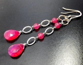 Neon Pink Earrings, Magenta Drop Earrings, Long Teardrop Dangles, Sterling Silver, Hot Pink Chalcedony
