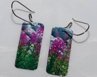 Yukon fireweed printed earrings