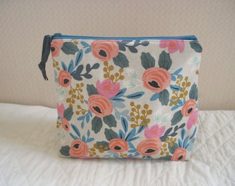 zipped project bag: bright floral