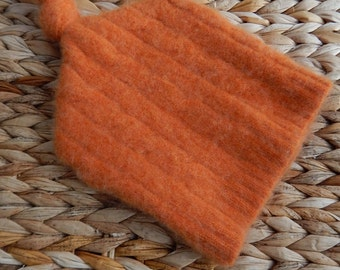 Recycled Orange Cashmere Baby Hat - 3-6 months