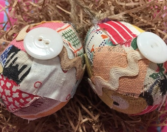 Two vintage fabric Easter eggs