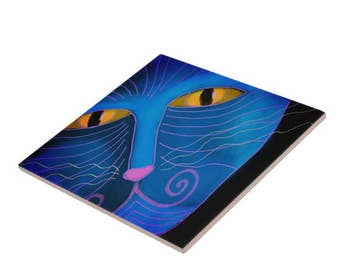 Blue Cat Face Abstract Digital Painting Printed on Ceramic Tile