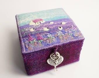Purple Harris Tweed and Felt Trinket Box